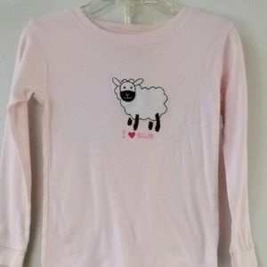 Gap Girl 4T Sheep Pink Striped Long Sleeve PJ Set